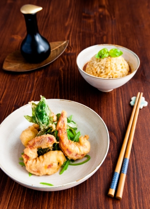 Thai-Curry-Risotto mit Tempura-Riesengarnelen