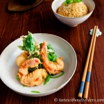Tempura-Garnelen mit Thai-Curry-Risotto